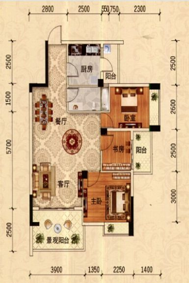A-3户型 3房2厅1卫  约88平