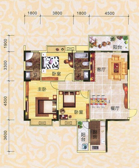2、3#楼01号房户型  3房2厅1卫 约128平