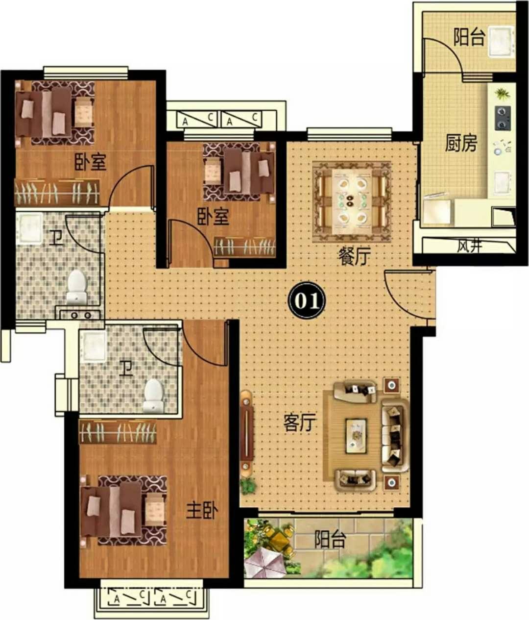 14#  3房2厅2卫 约115㎡