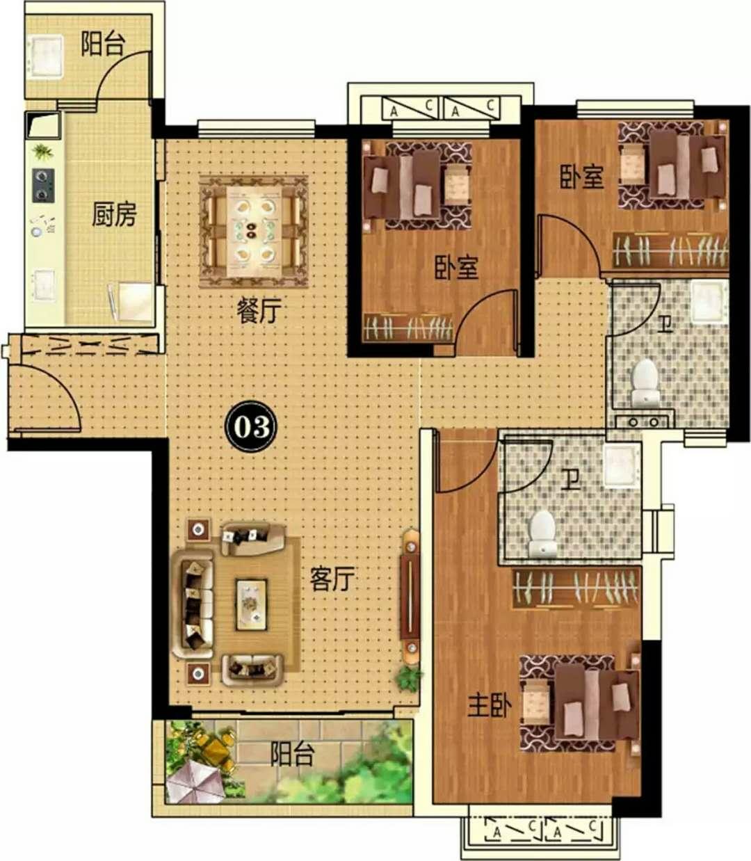 14#  3房2厅2卫 约128㎡