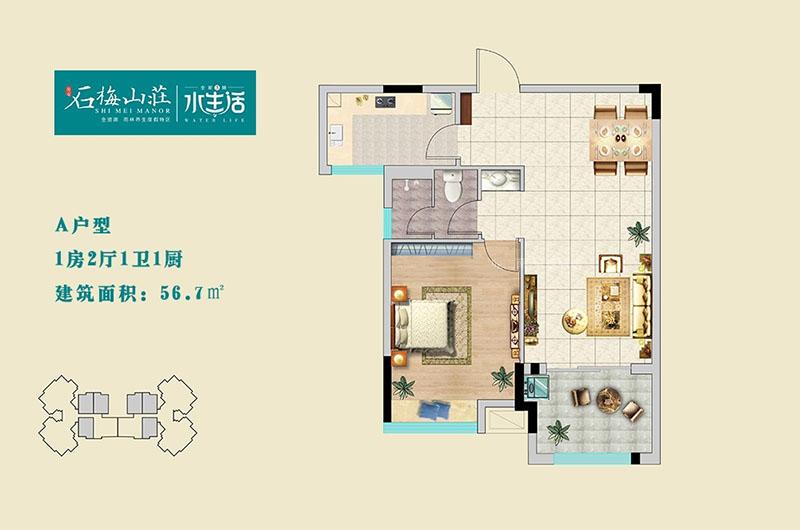 三期A户型 一室两厅一卫 约56㎡