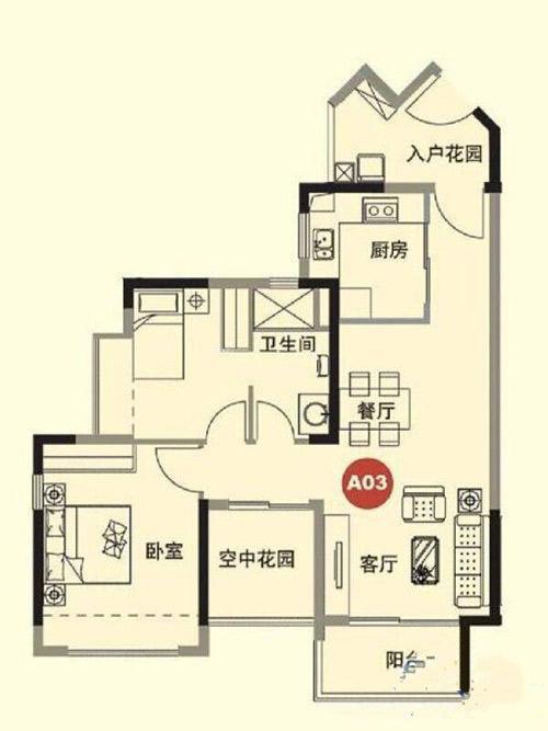 2室1厅1卫 88.00㎡
