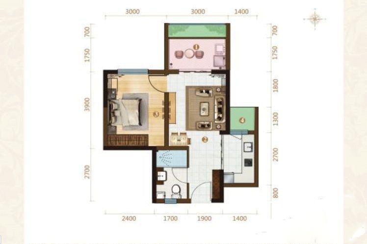 1室2厅1卫 52㎡