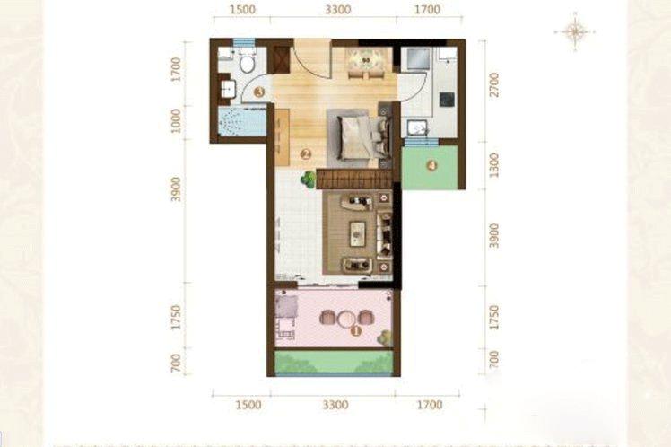 1室1厅1卫 44㎡