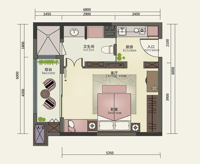 1室1厅1卫 54㎡