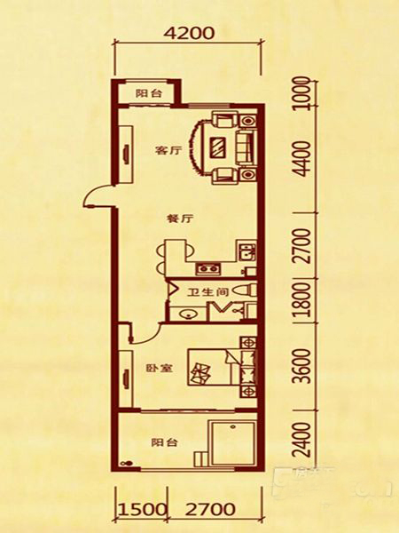1室2厅1卫 73.15㎡
