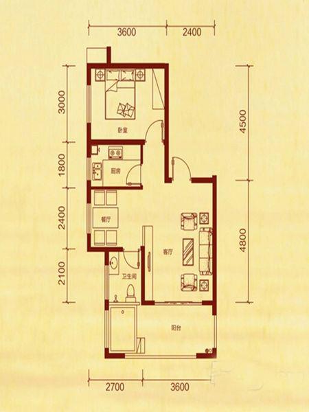 1室2厅1卫 62.21㎡