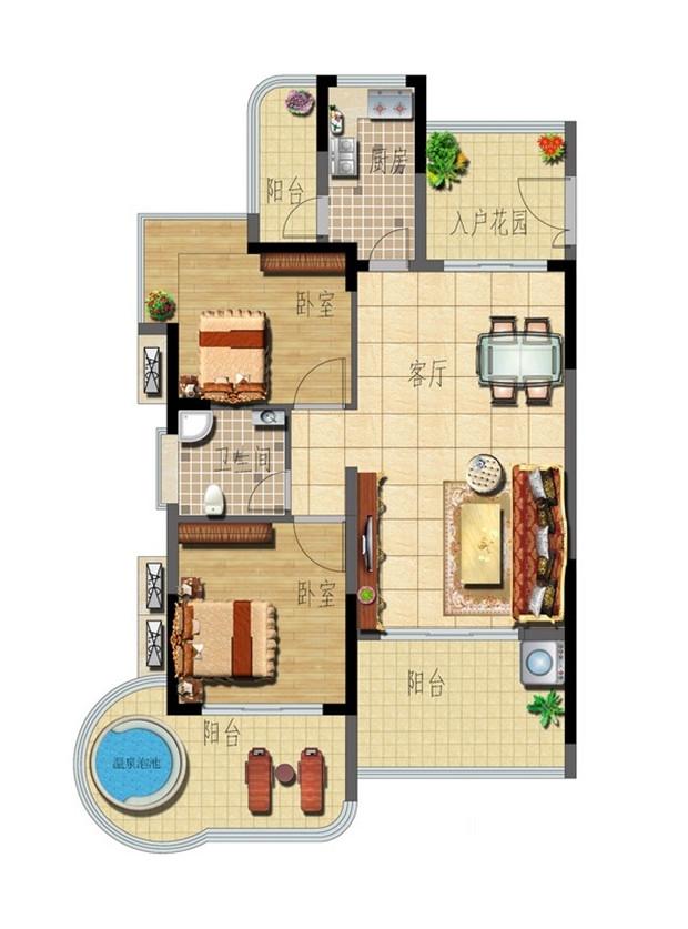 B-1 2室2厅1卫 83㎡