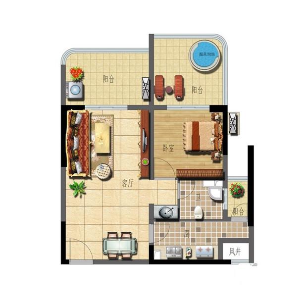 A-3 1室2厅1卫 65㎡