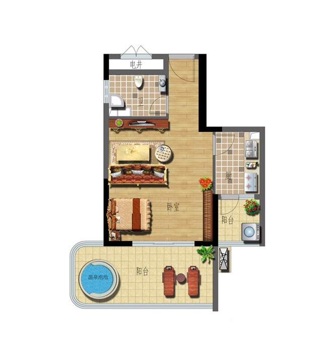 A-4 1室1厅1卫 47.00㎡