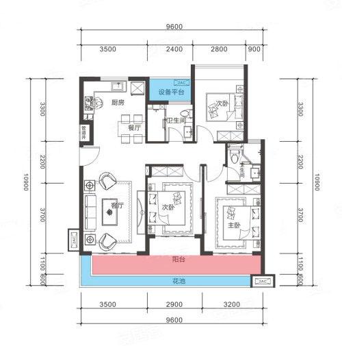 3室2厅2卫 102㎡