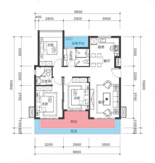 3室2厅2卫 104㎡