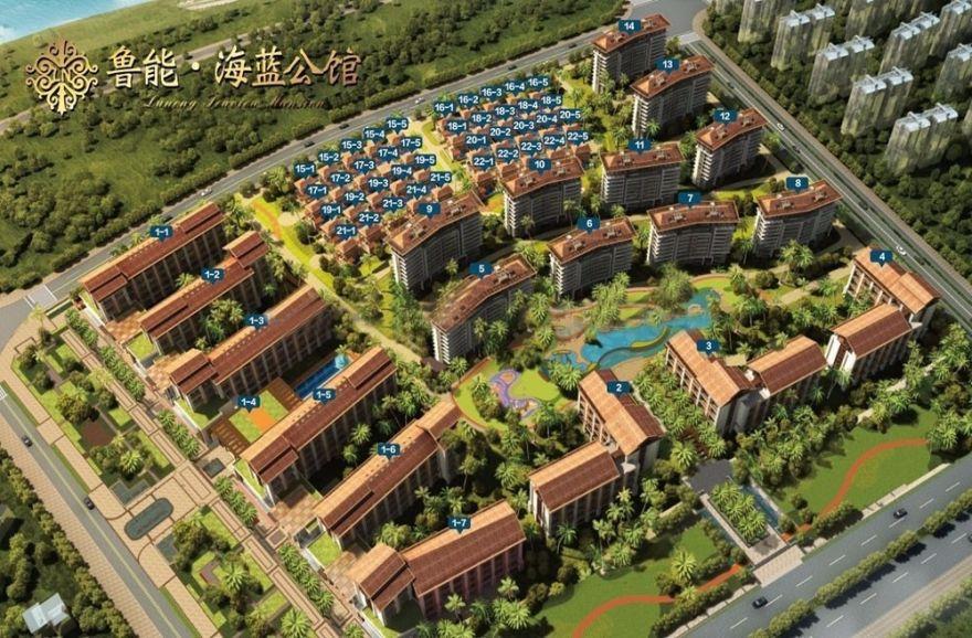 鲁能海蓝公馆建面约58㎡,毛坯均价25000元/㎡